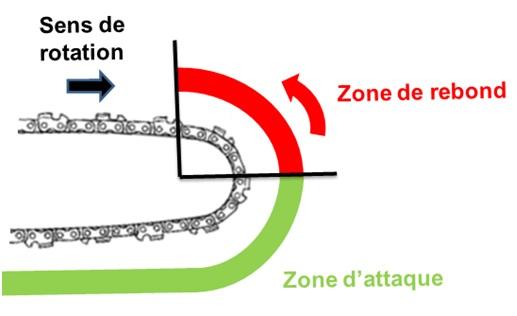 Les risques de la zone de rebond d'une tronçonneuse